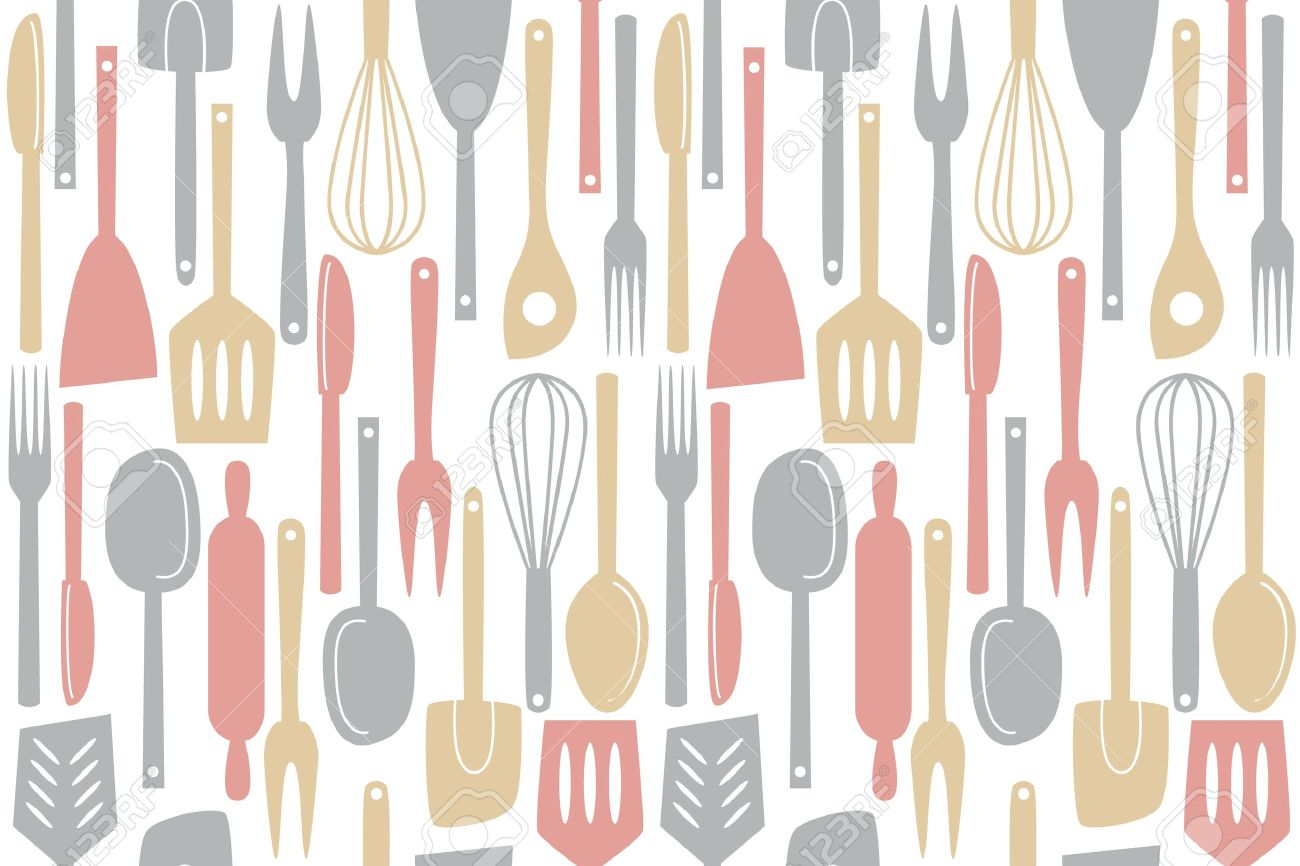 Kitchen Utensils Wallpaper illustration of kitchen utensils and cutlery, seamless pattern