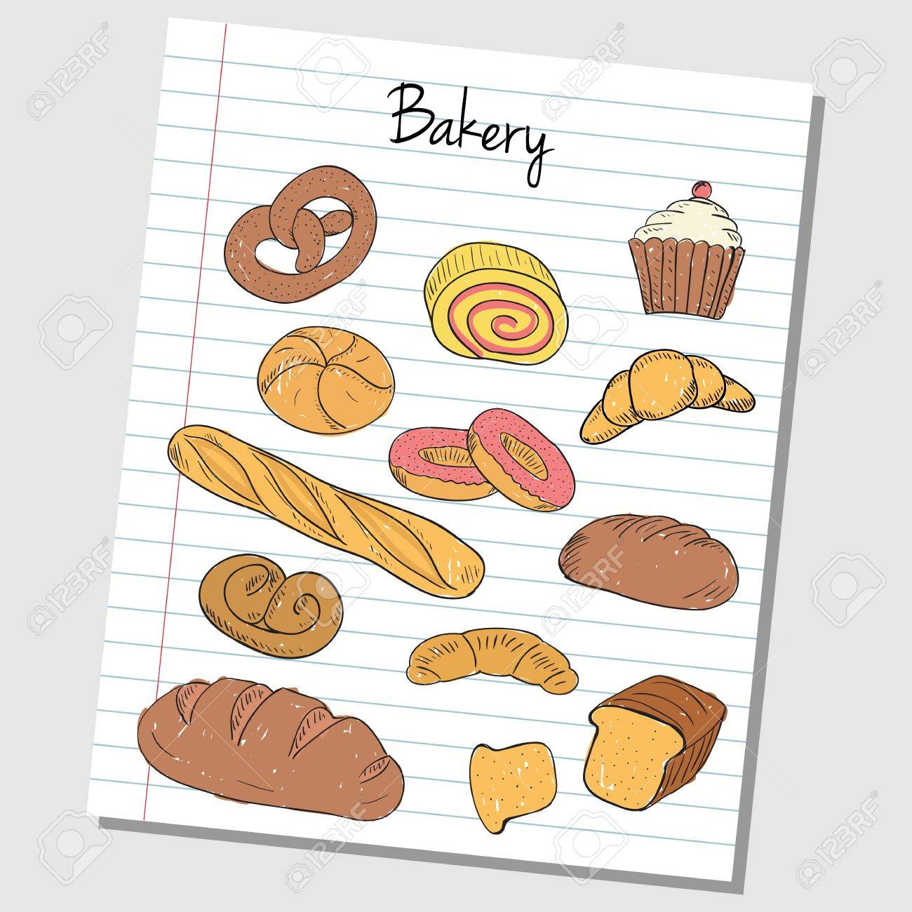 パン屋さんのイラストにいたずら書きを着色紙の裏地のイラスト素材