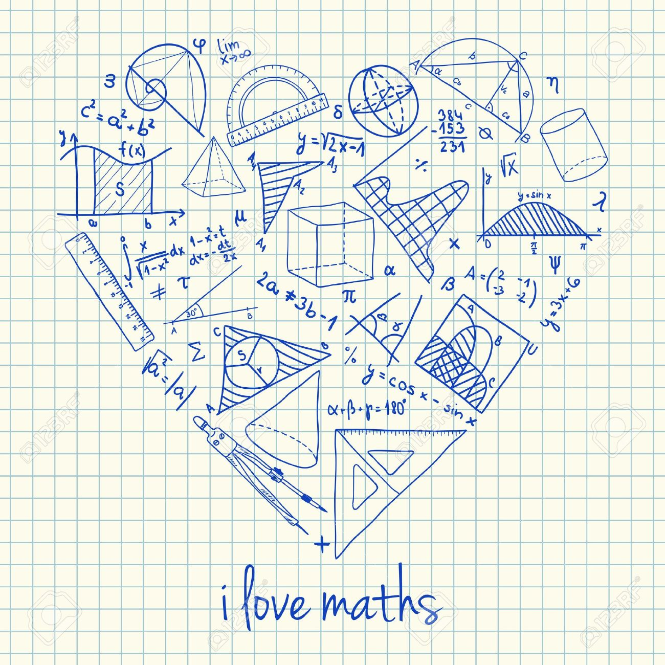 Illustration of maths doodles in heart shape Stock Vector - 21785692