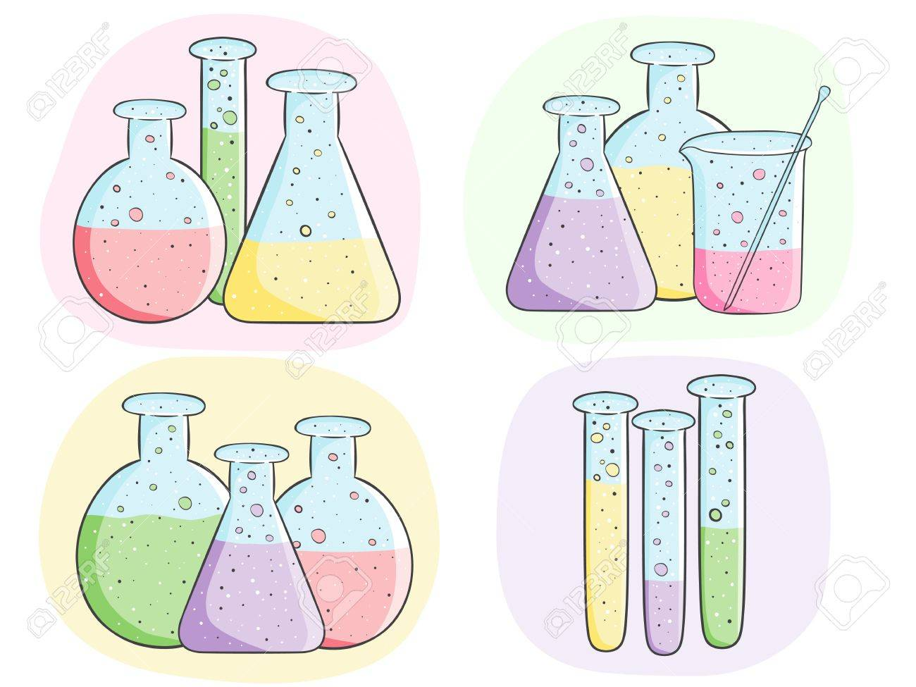 Illustration of laboratory test tubes with colored liquid Stock Vector - 21785694