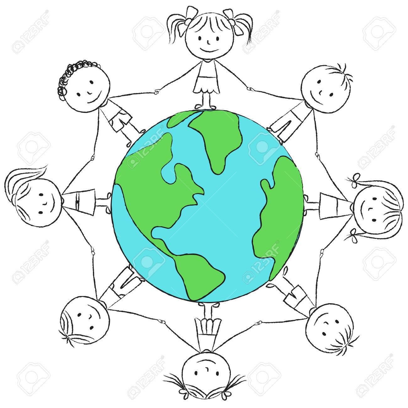 Illustration D Enfants Autour De La Planete Dessin A La Craie Clip Art Libres De Droits Vecteurs Et Illustration Image 27449853