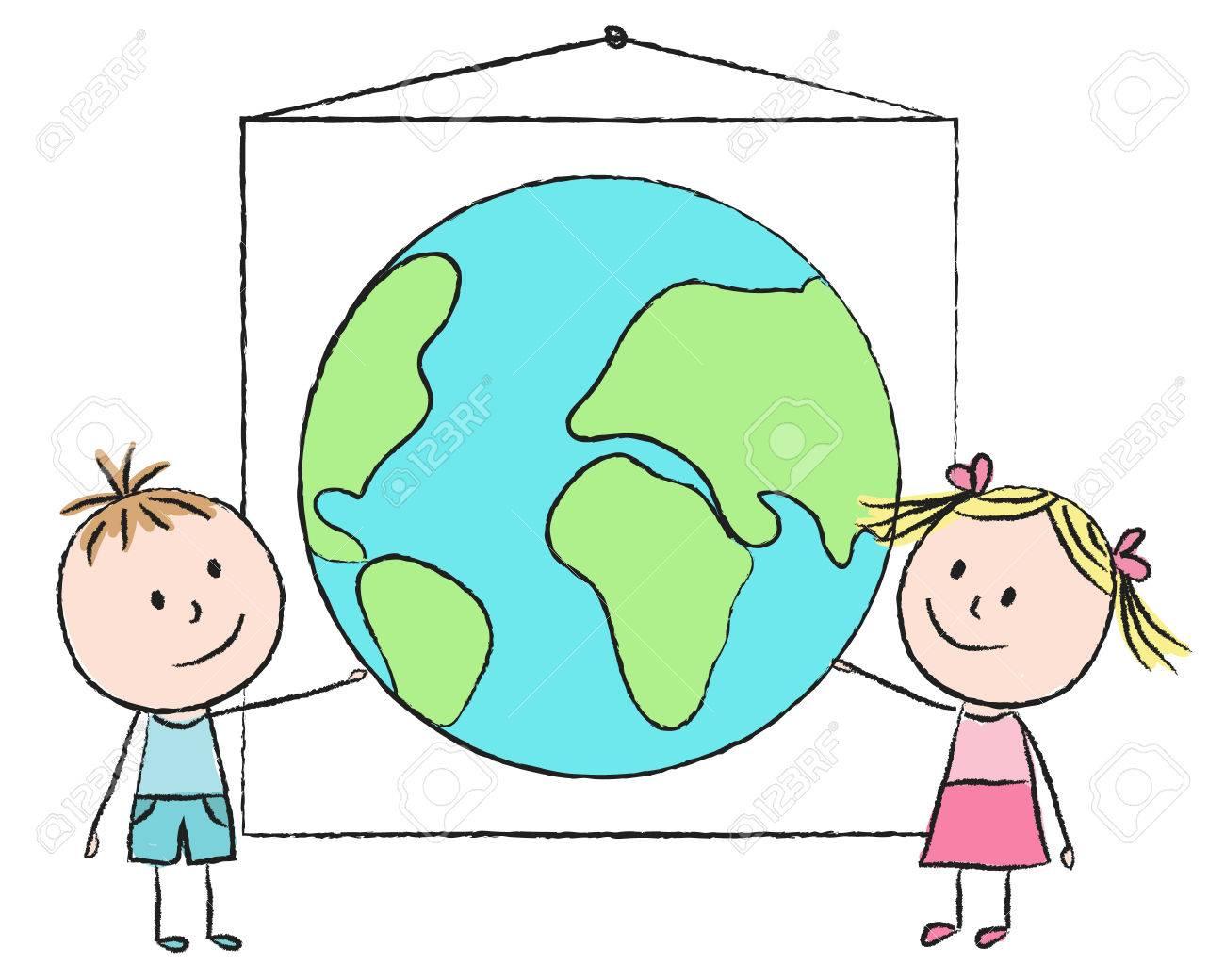Illustration D Enfants Avec La Planete Dessin A La Craie Clip Art Libres De Droits Vecteurs Et Illustration Image 27449859