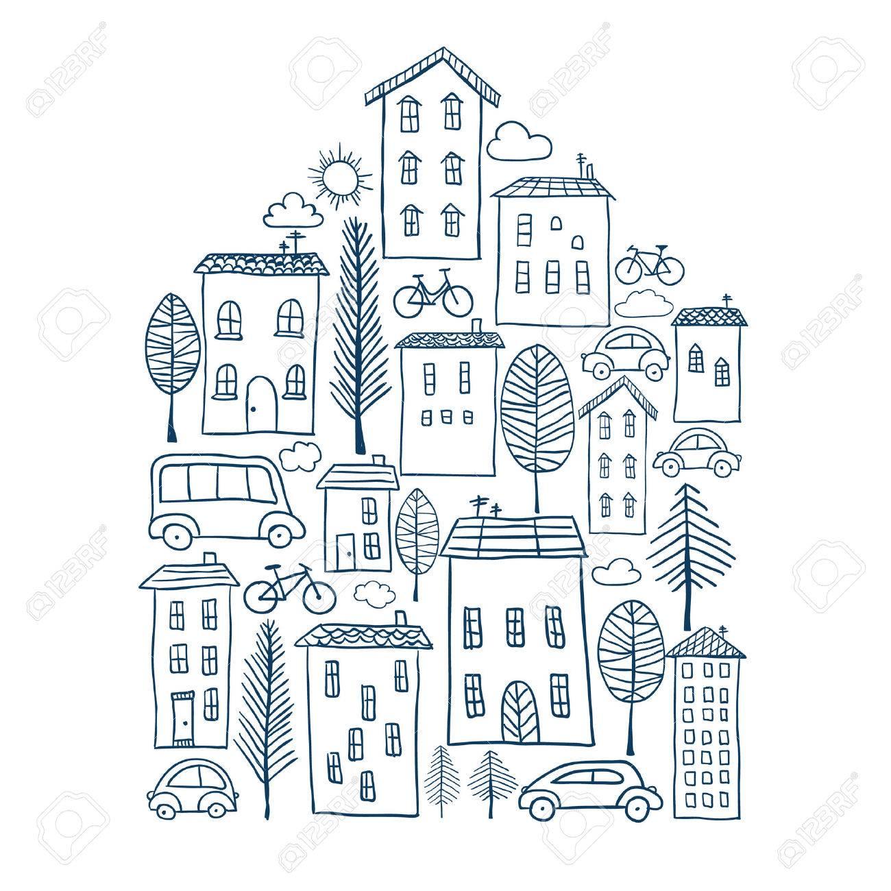 手の家の形で描かれた町のイラストのイラスト素材ベクタ Image 31491204