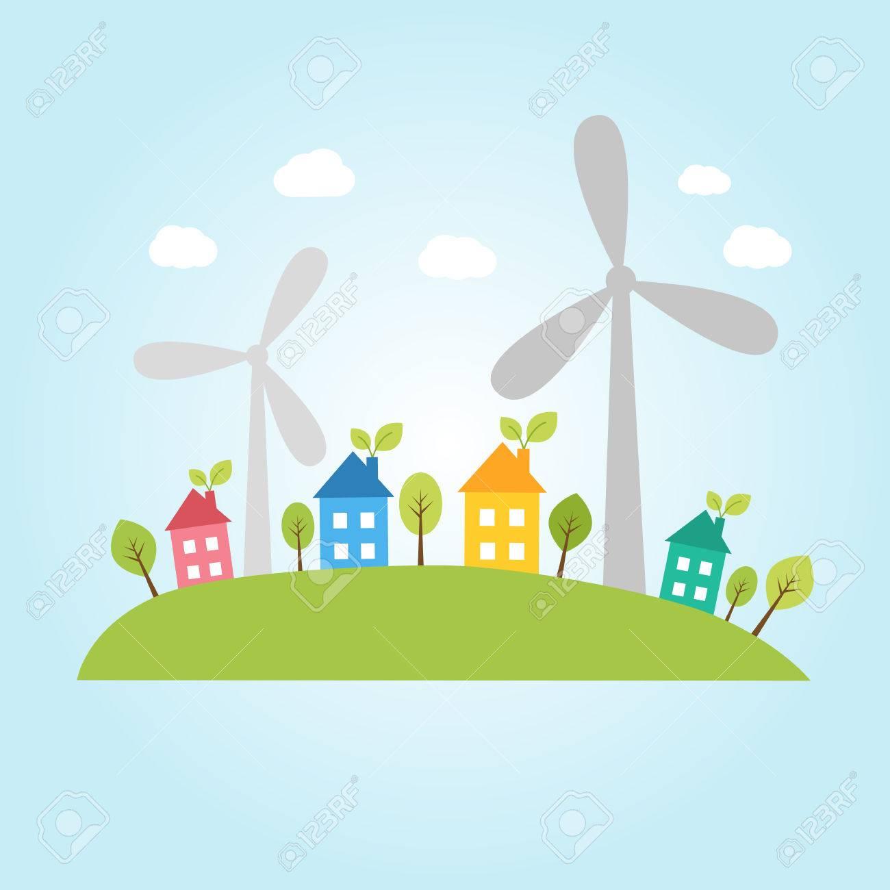 風力発電の街のイラストのイラスト素材ベクタ Image 43853851