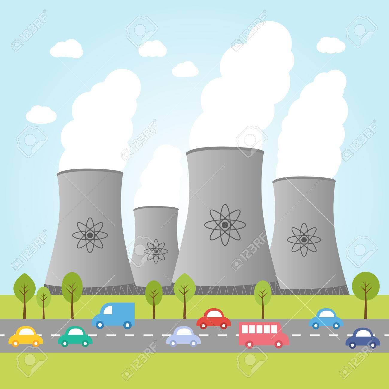 Illustration Von Kernkraftwerken Mit Straßen Und Autos Lizenzfrei ...