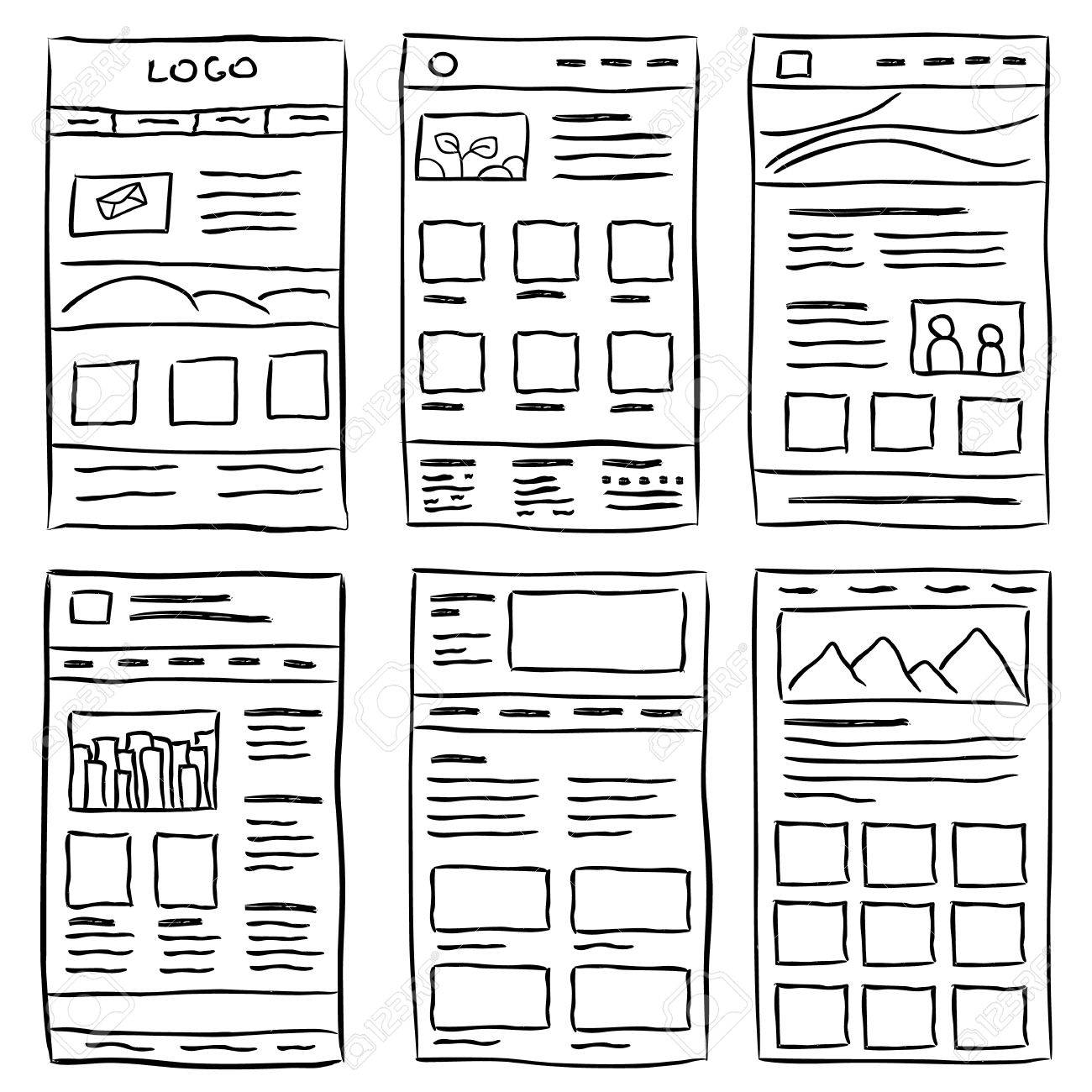 Hand drawn website layouts. doodle style design - 53926876
