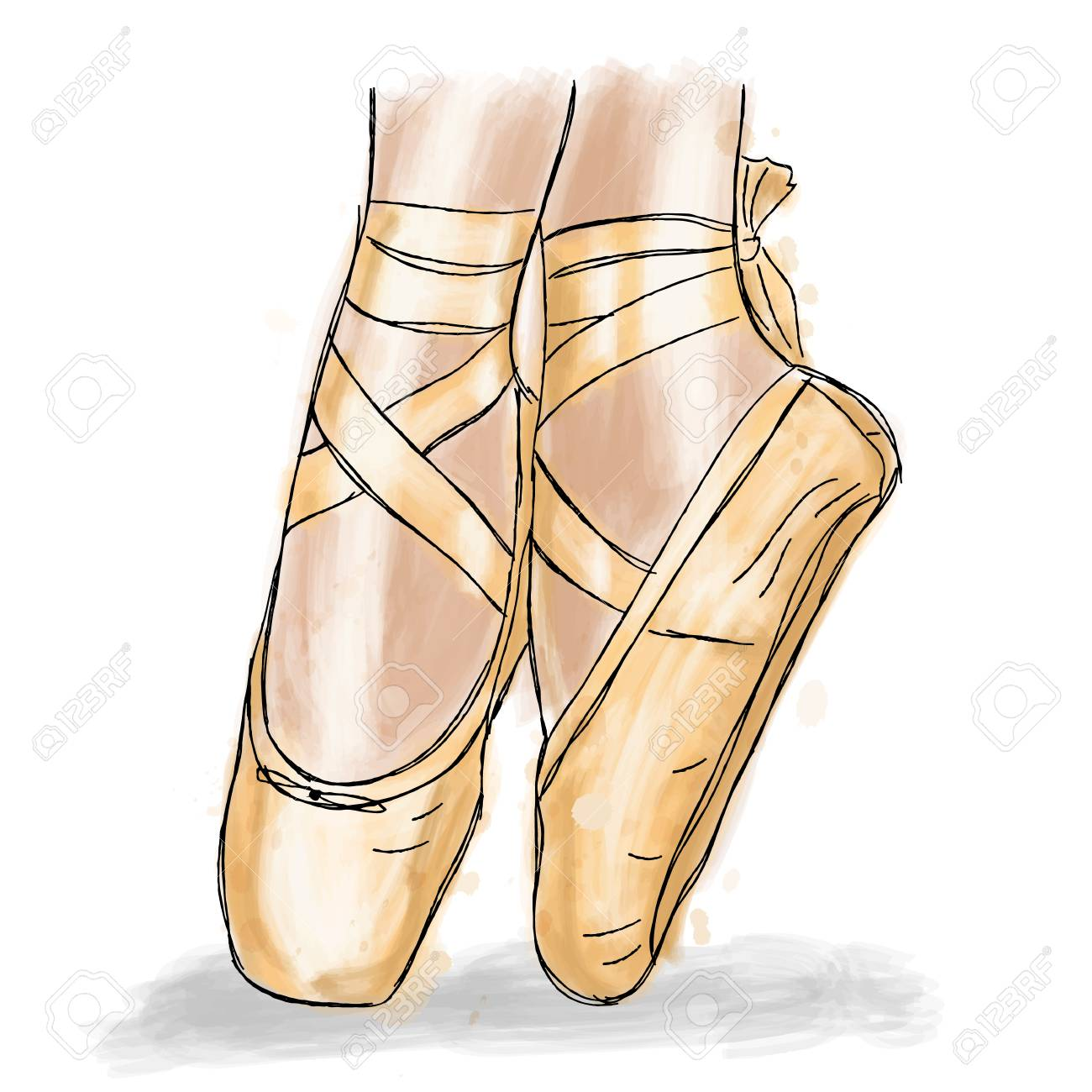1ef2350719e63 Pink ballerina shoes. Ballet pointe shoes with ribbon. Hand drawn art work  isolated on