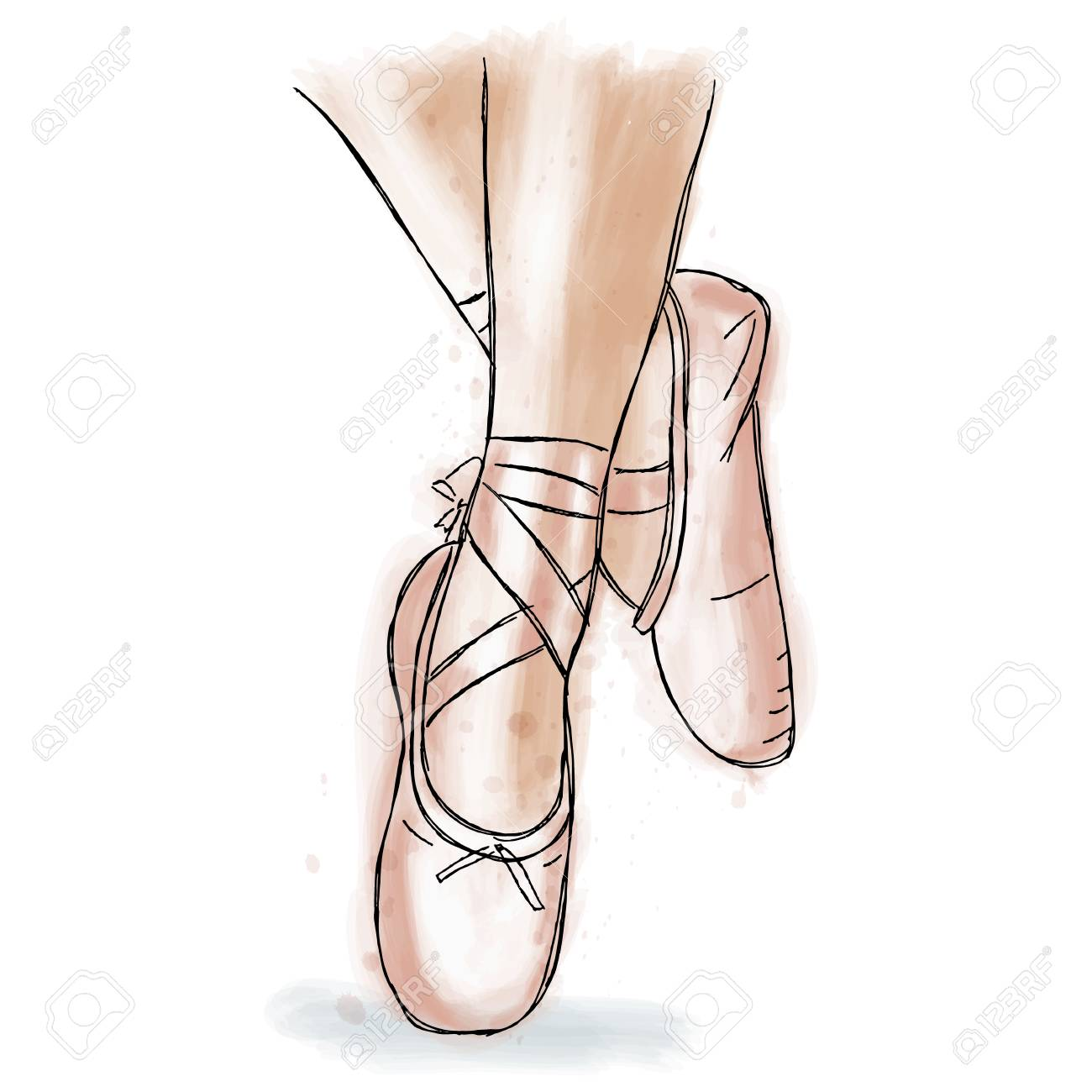 bdcddcf49ff2 Pink ballerina shoes. Ballet pointe shoes with ribbon. Hand drawn art work  isolated on