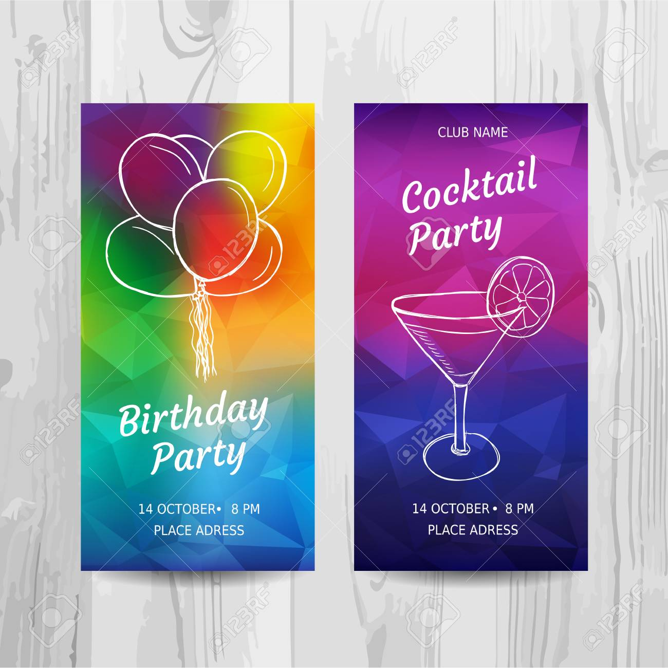 Birthday Party Invitation Card Cocktail Party Flyer Vector