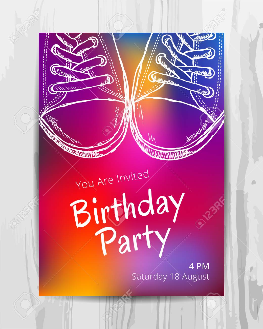 Birthday Party Invitation Card Multicolored Teenage Party Flyer