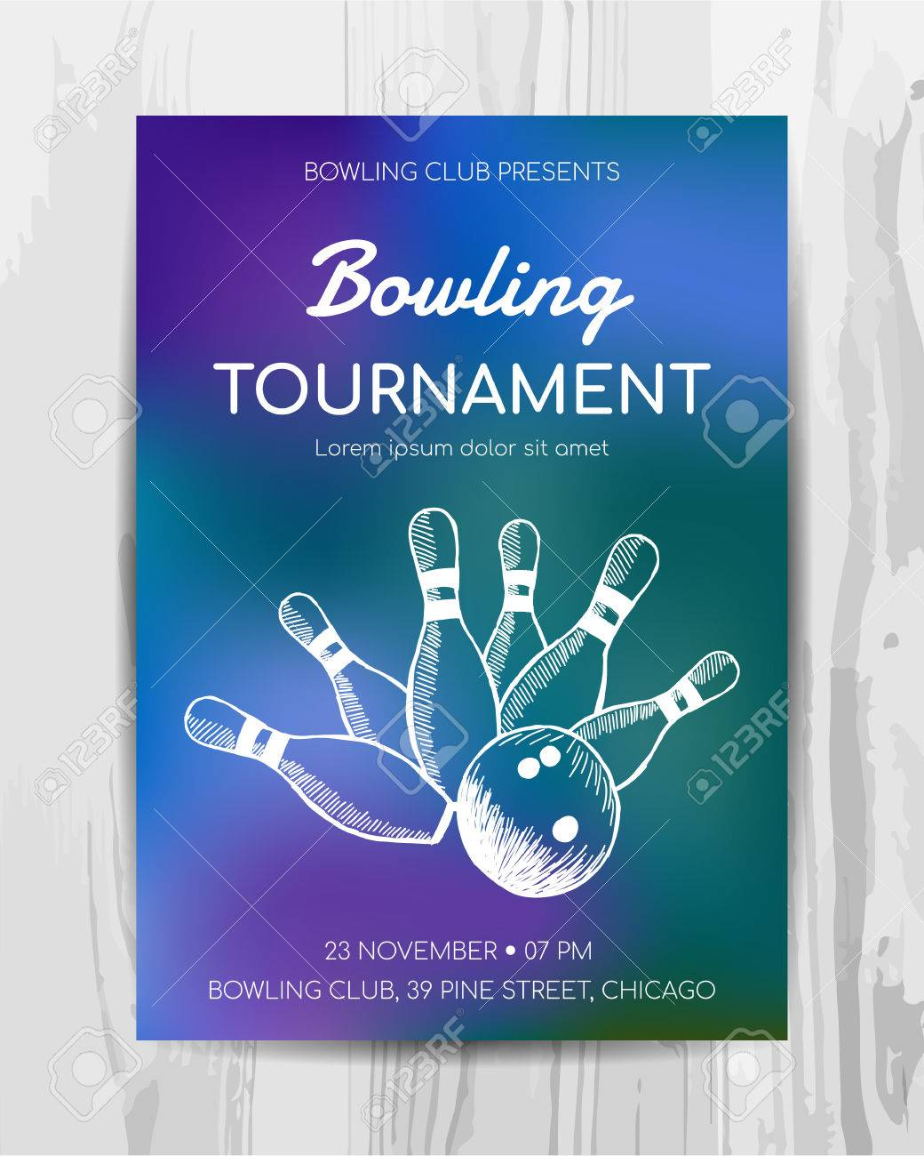 Bowling Party Invitation Card Sport Tournament Flyer Vector
