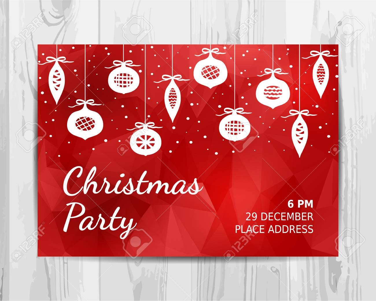 Tarjeta De Invitación De Invitación De Navidad Vector De Navidad Roja Plantilla De Diseño Navideño