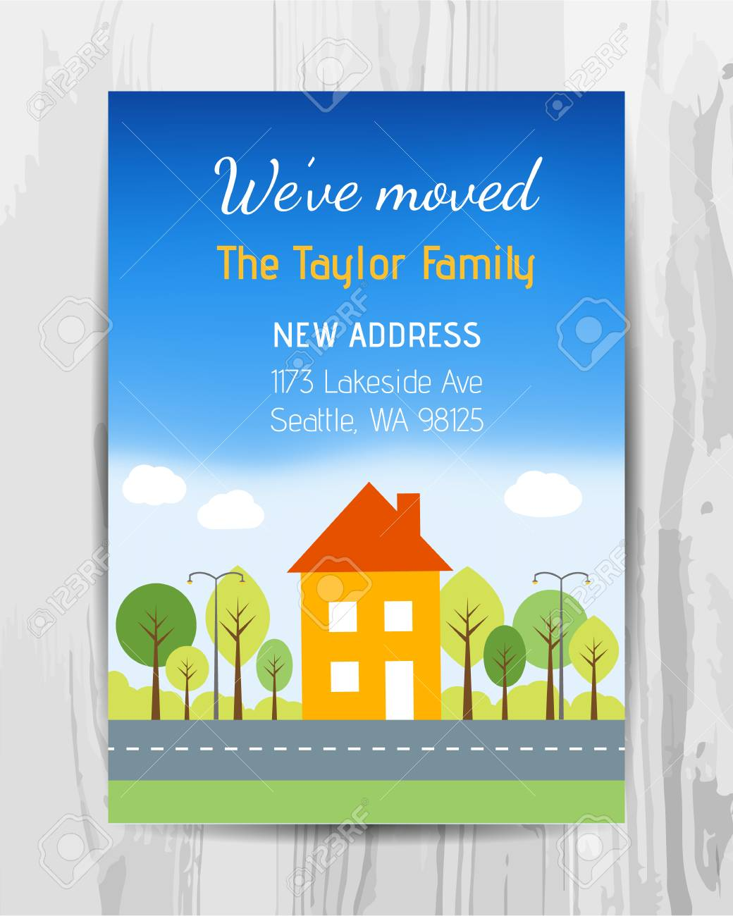 Welcome Party Invitation Card New Home Party Flyer Vector Template