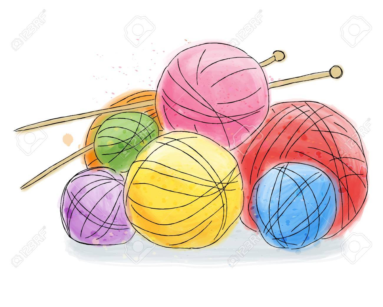 Ball of wool with pins, doodle watercolor painting - 84589262
