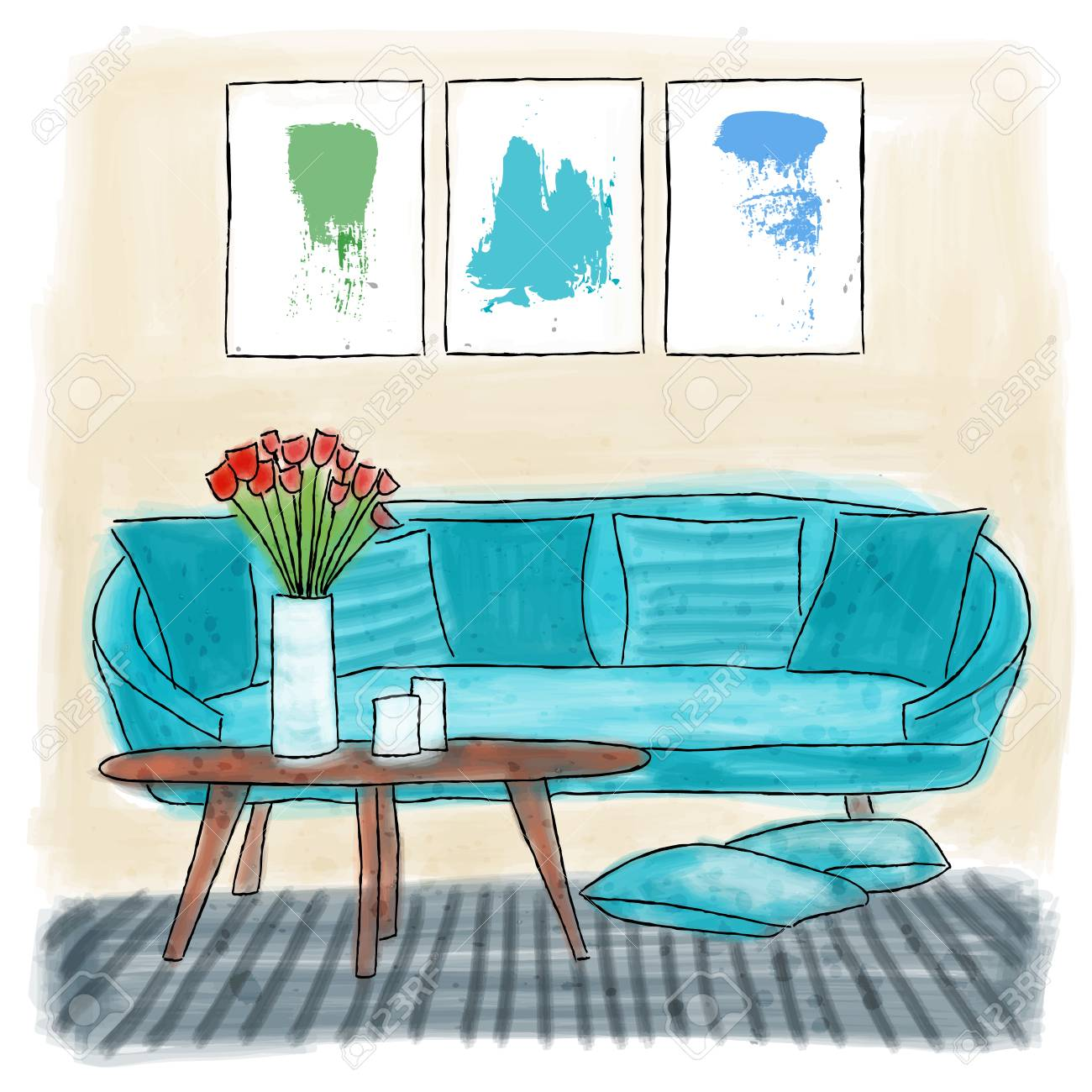 Living Room Colored Painting Watercolor Doodle Stock Vector
