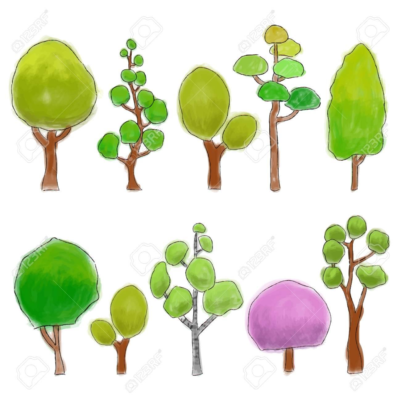 Diferentes Tipos De árboles De Dibujos Animados De Colores, Ilustración  Acuarela Ilustraciones Vectoriales, Clip Art Vectorizado Libre De Derechos.  Image 84589272.
