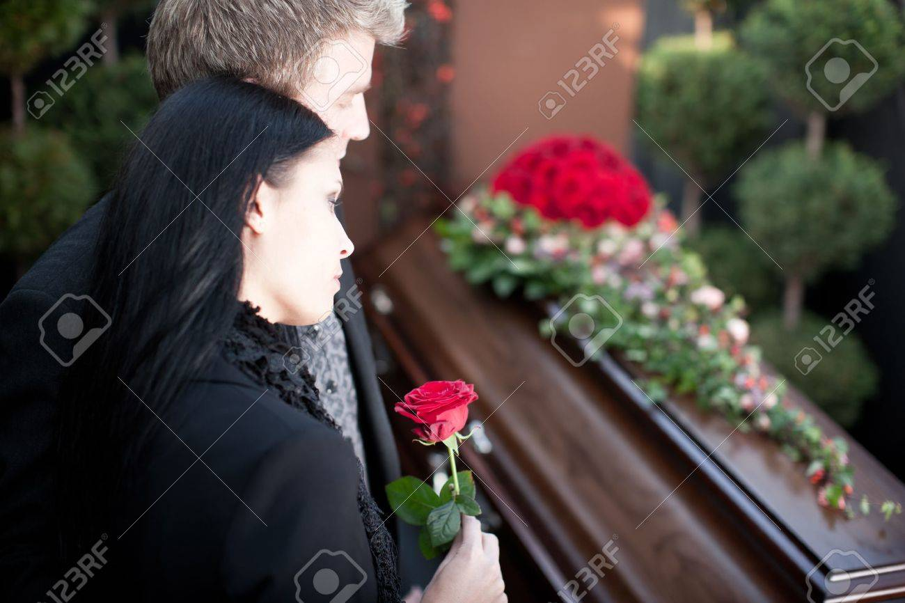 Religion, death and dolor  - funeral and cemetery; funeral with coffin Stock Photo - 11193726