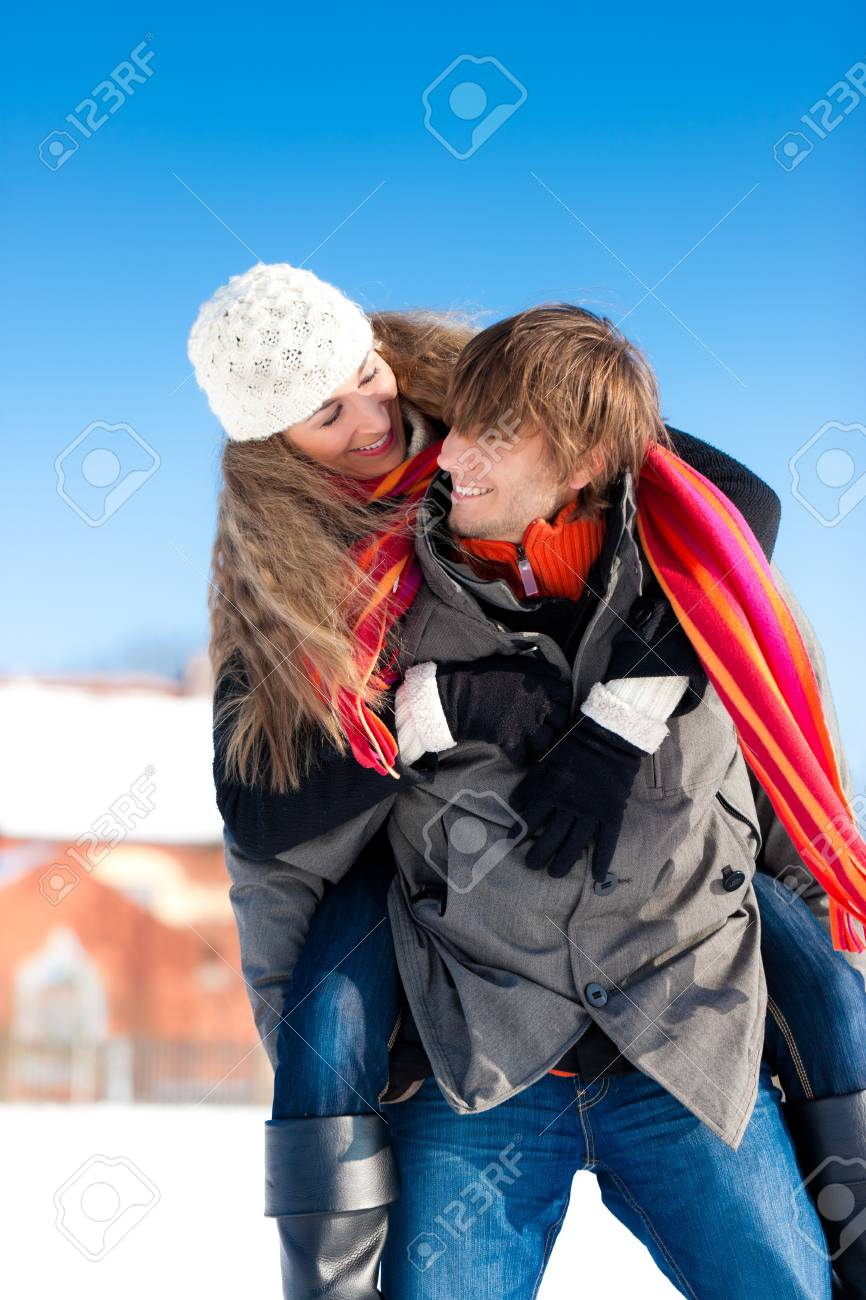 Couple - man and woman - having a winter walk embracing each other Stock Photo - 11840749