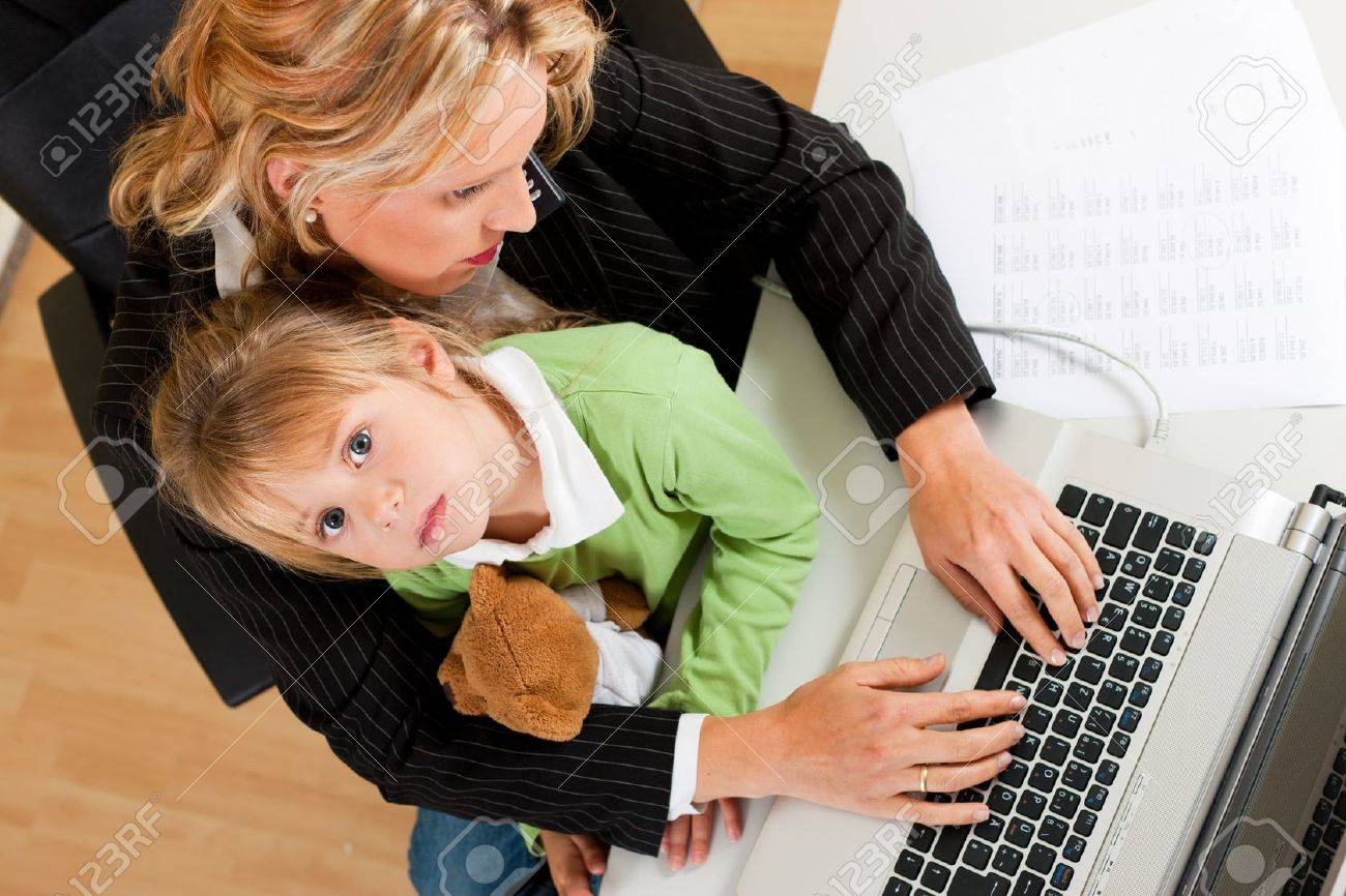 family business telecommuter businessw and mother is working family business telecommuter businessw and mother is working in the internet while her daughter looks