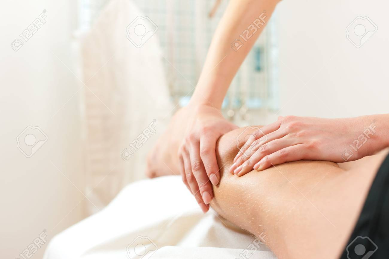 Patient at the physiotherapy gets massage or lymphatic drainage Stock Photo - 13190408