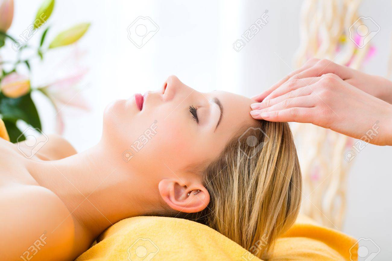 Wellness - woman receiving head or face massage in spa Stock Photo - 19761985
