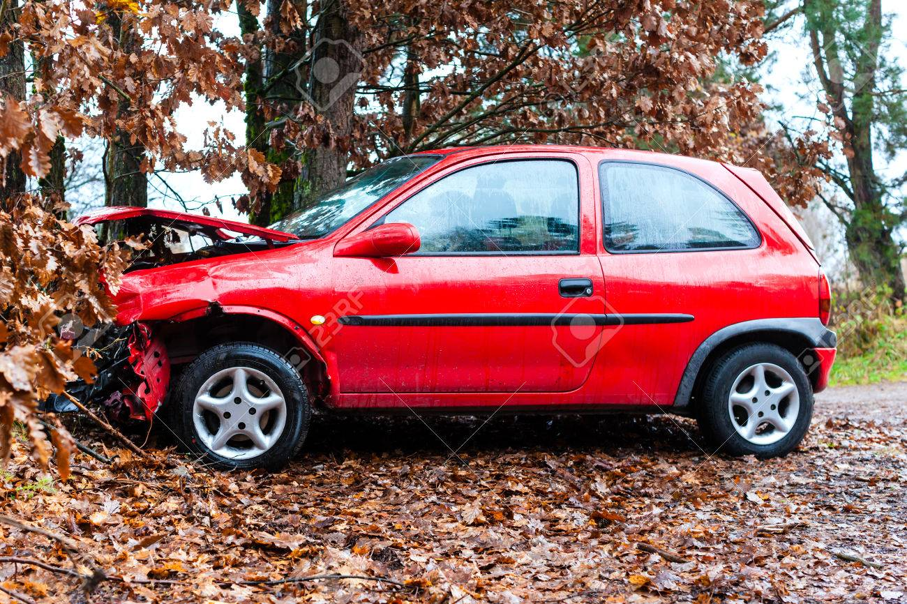 Accident - car crashed into tree, it is totally destroyed Stock Photo - 23964951