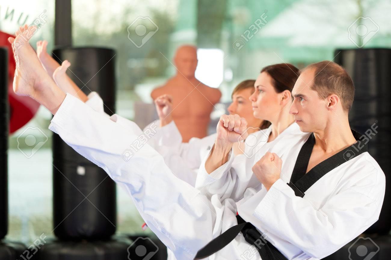 Taekwondo Belt: People In A Gym In Martial Arts Training Exercising  Taekwondo Stock Photo