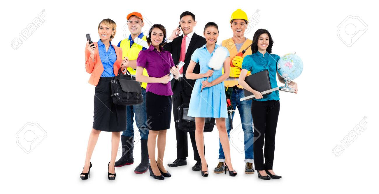 Group of Asian men and women with various professions - construction worker, teacher, businessman, handyman, and call center agent Standard-Bild - 51756105
