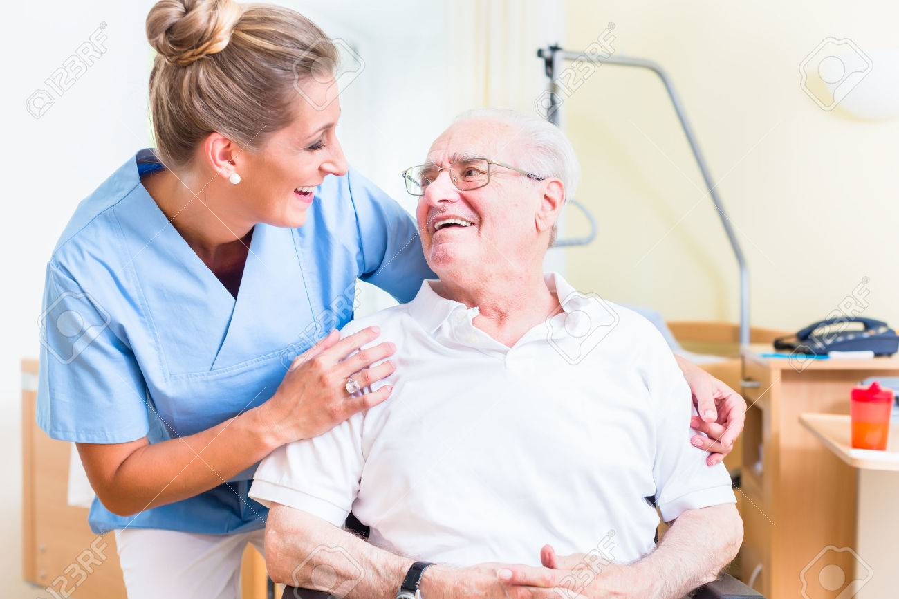 Senior Man And Old Age Nurse In Nursing Home Stock Photo Picture And Royalty Free Image Image 56931183