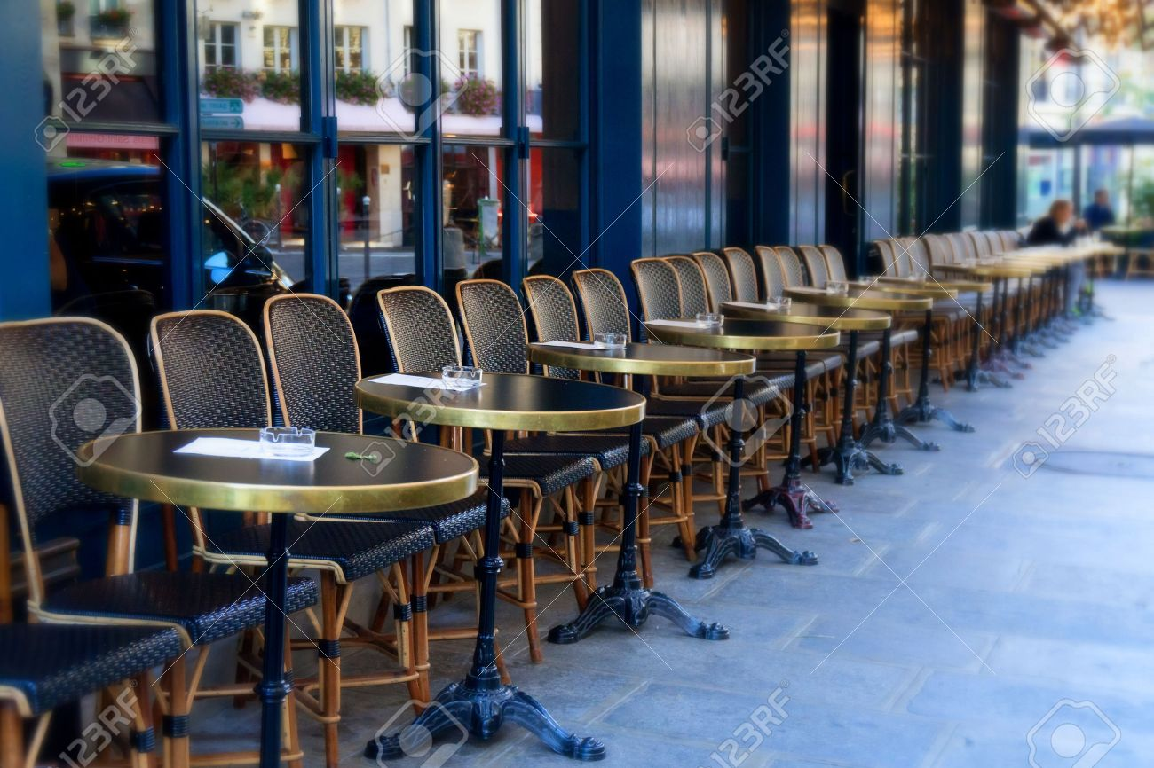 Stock Photo   Street Cafe Terrace With Tables And Chairs, Paris France