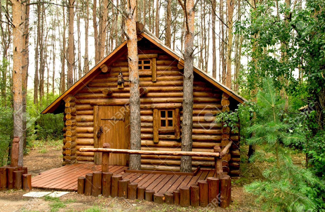 House In The Woods Part - 37: Stock Photo - Wooden House In The Woods