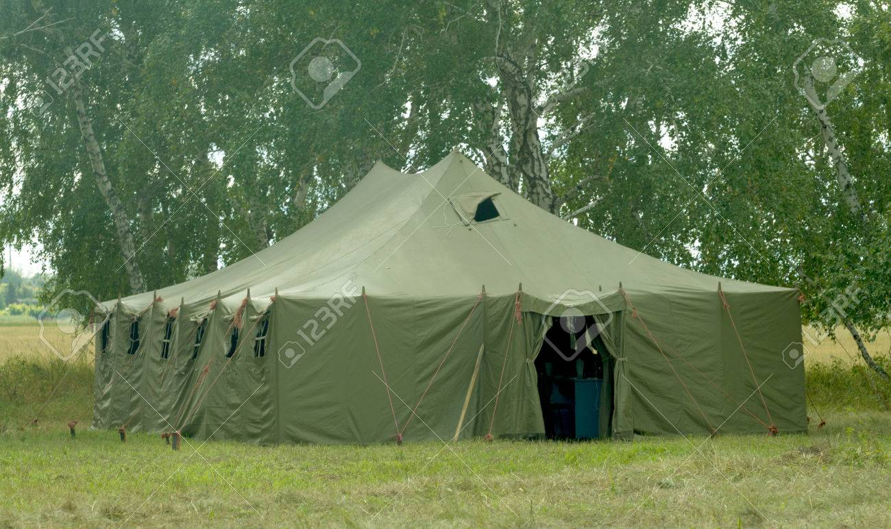 big old army expedition tent the forest