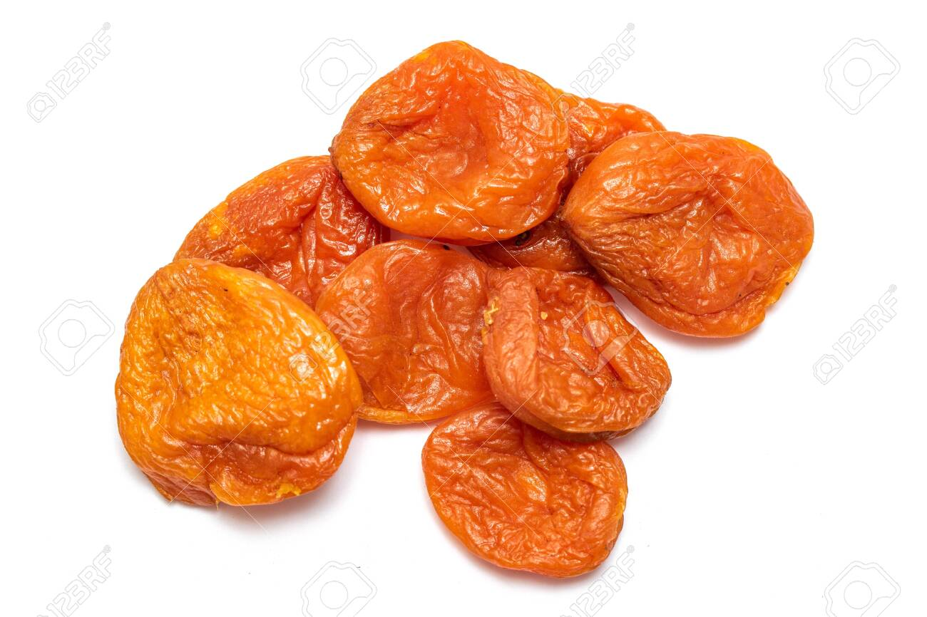 Dried apricot dried apricots, close-up on a white background. - 124263170