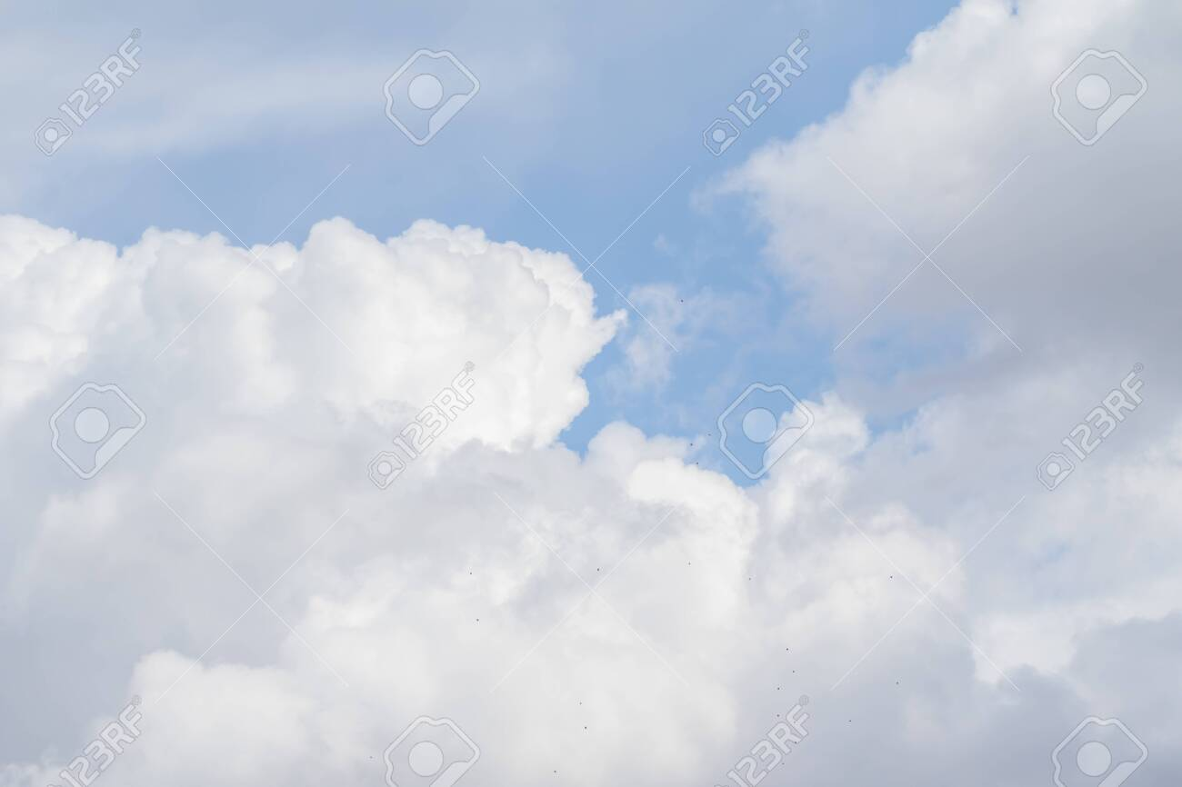 White clouds against the blue sky, landscape day sky. - 124452340
