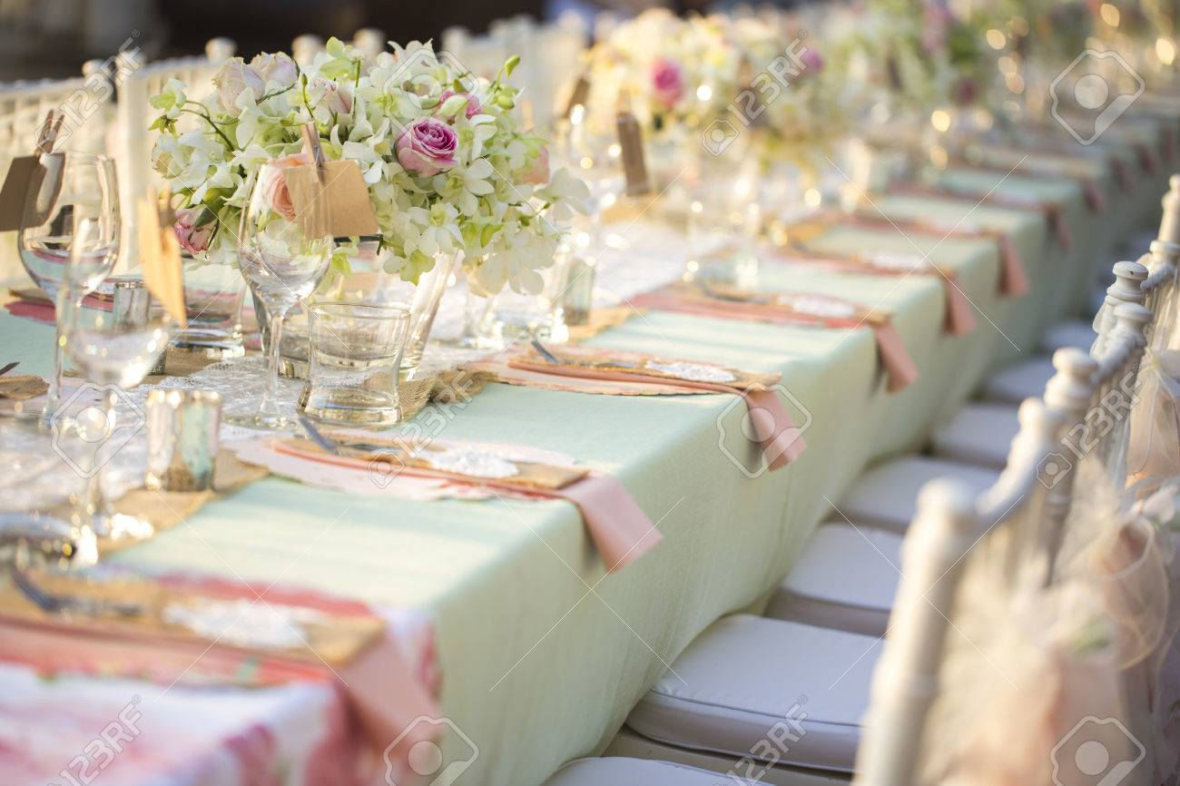 Table Setting For An Wedding Reception Stock Photo Picture And