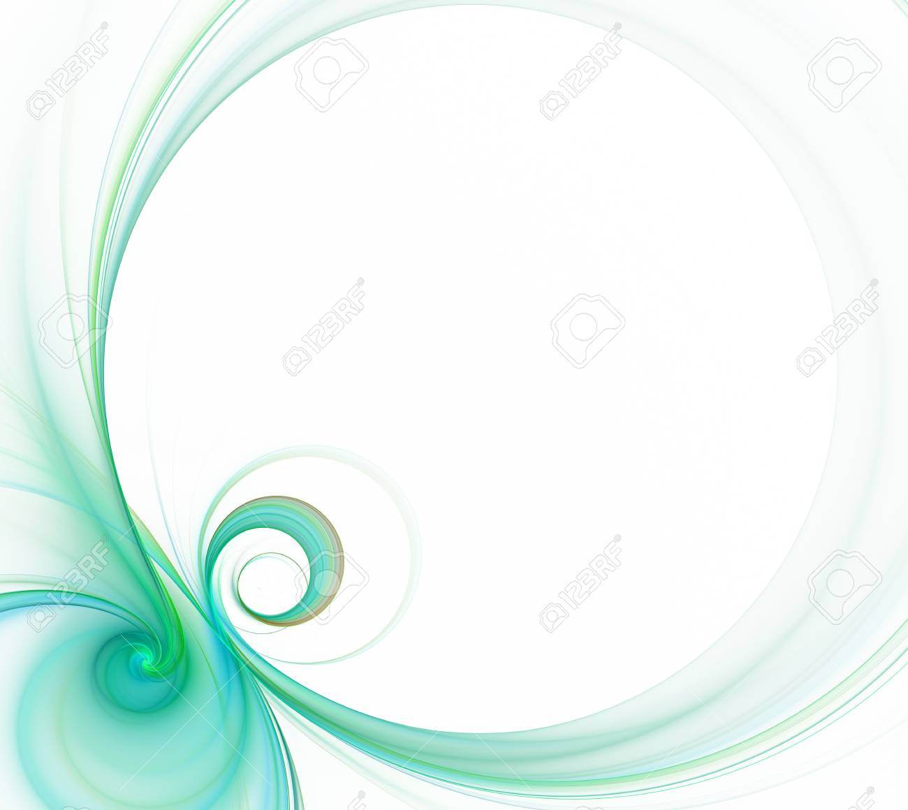 White Abstract Background. Fresh Round Green Frame With Eight ...