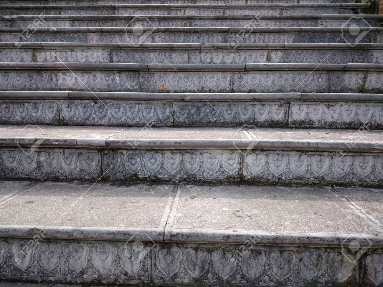 Stock Photo   Stone Stair With Carved Grey Steps. Ascending Steps Outdoors  In The Vietnamese Style Pattern. Brown Staircase Rising Up To The Temple  With ...