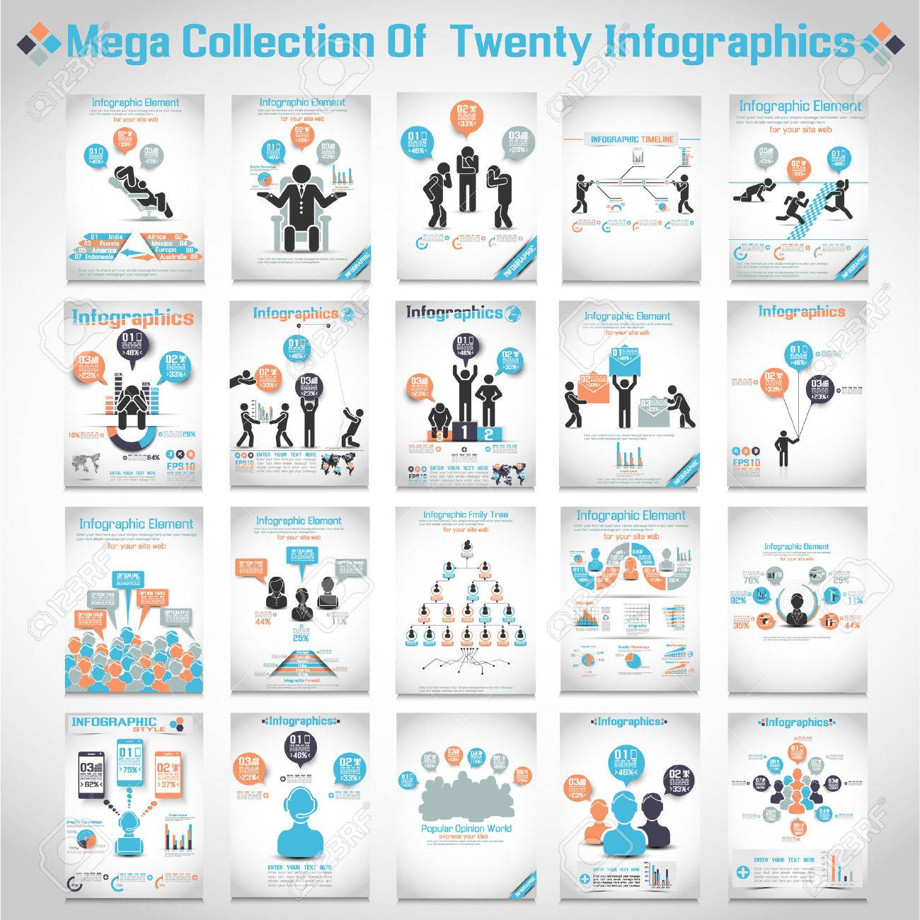MEGA COLLECTIONS OF TEN MODERN ORIGAMI BUSINESS ICON MAN STYLE OPTIONS BANNER 3 Stock Vector - 24057085
