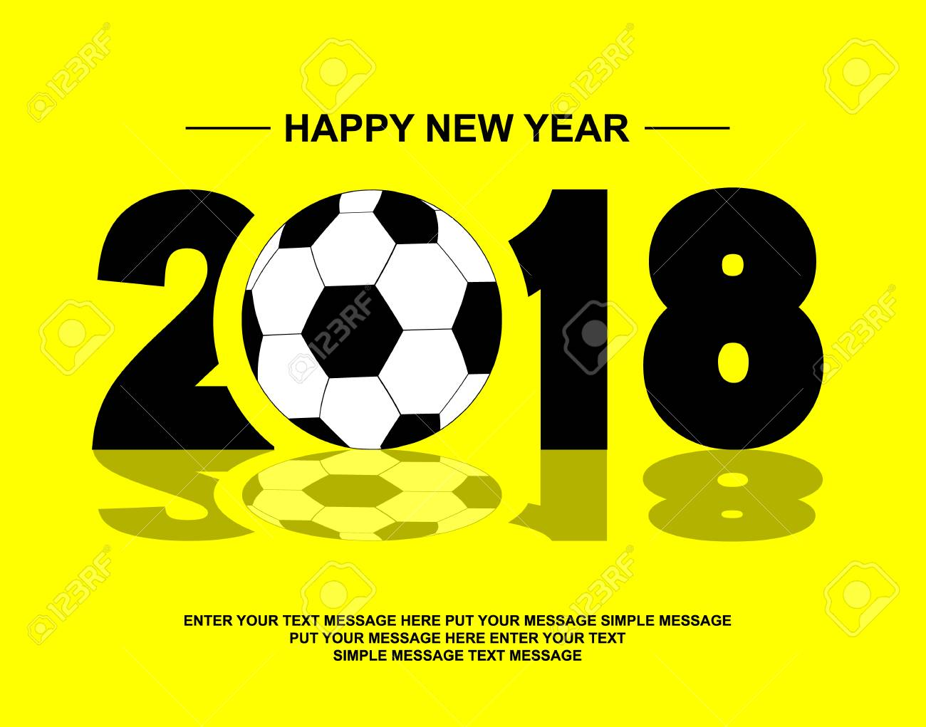 2018 Happy New Year Football Royalty Free Cliparts Vectors And