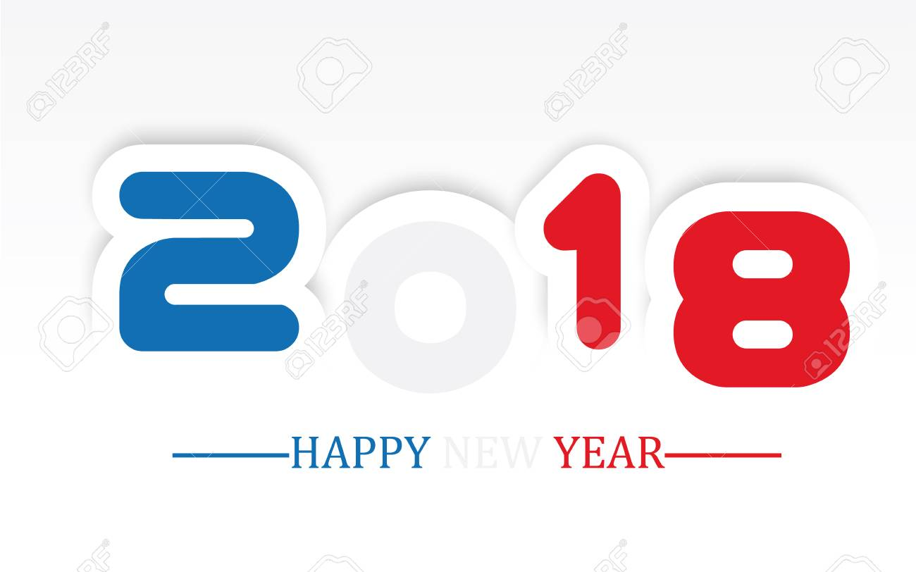 2018 happy new year simple writing with shading stock vector 88031203
