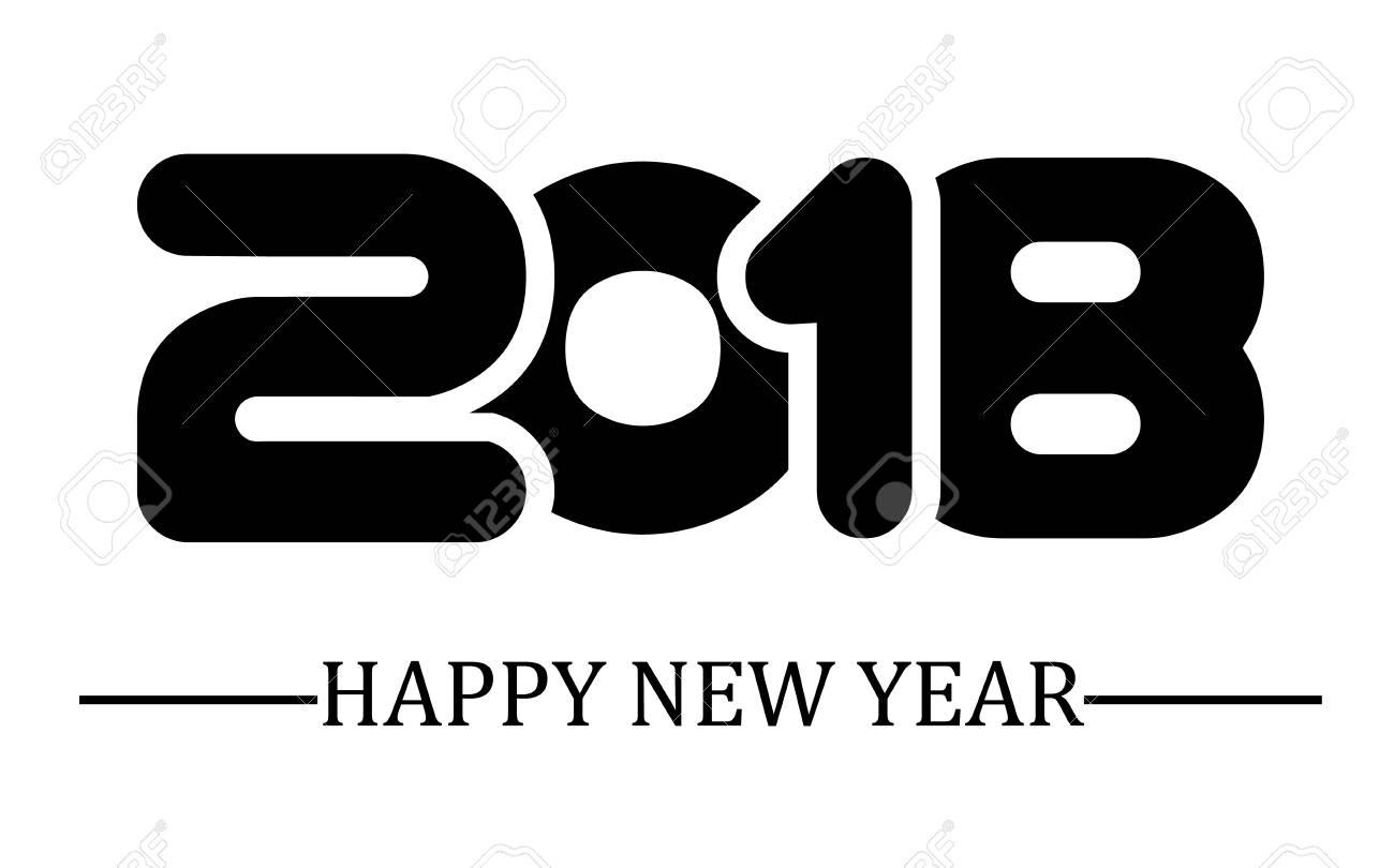 2018 feliz año nuevo escritura simple negro Foto de archivo - 88289872 0c484d230999c
