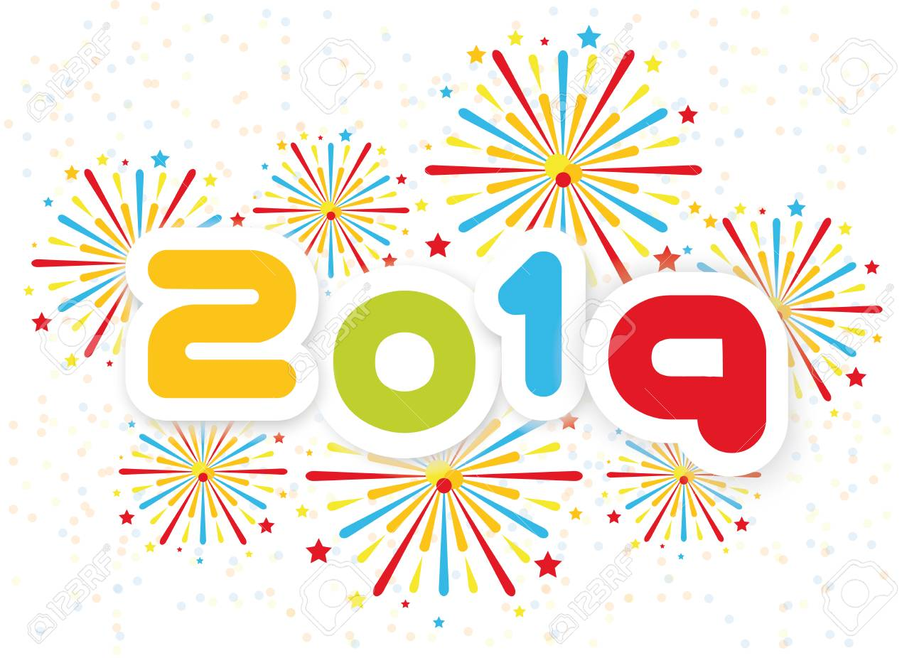 2019 Happy New Year Background With Fireworks Second Edition Royalty