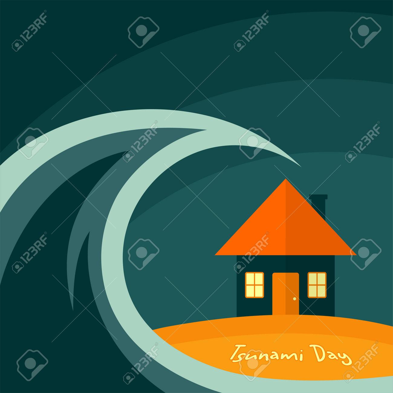 World Tsunami Day, the tsunami hit the house Vector Design - 133506295