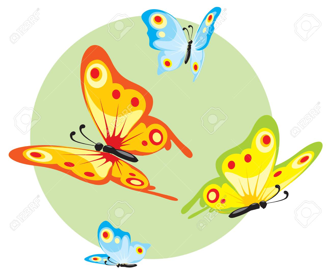 8f56af2582061 Collection of a color flying butterflies. beauty Stock Photo - 64963934