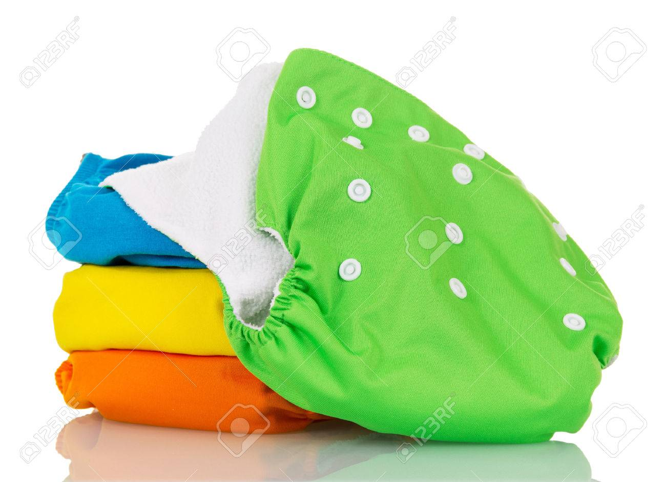 Organic cloth diapers isolated on white background. - 67527316