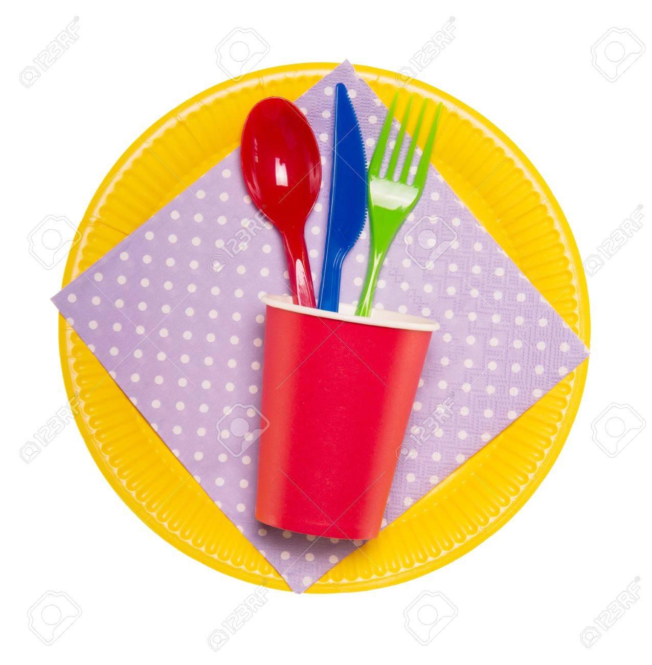 Set brightest disposable tableware plates glasses spoon fork knife glass  sc 1 st  123RF.com & Set Brightest Disposable Tableware: Plates Glasses Spoon Fork ...