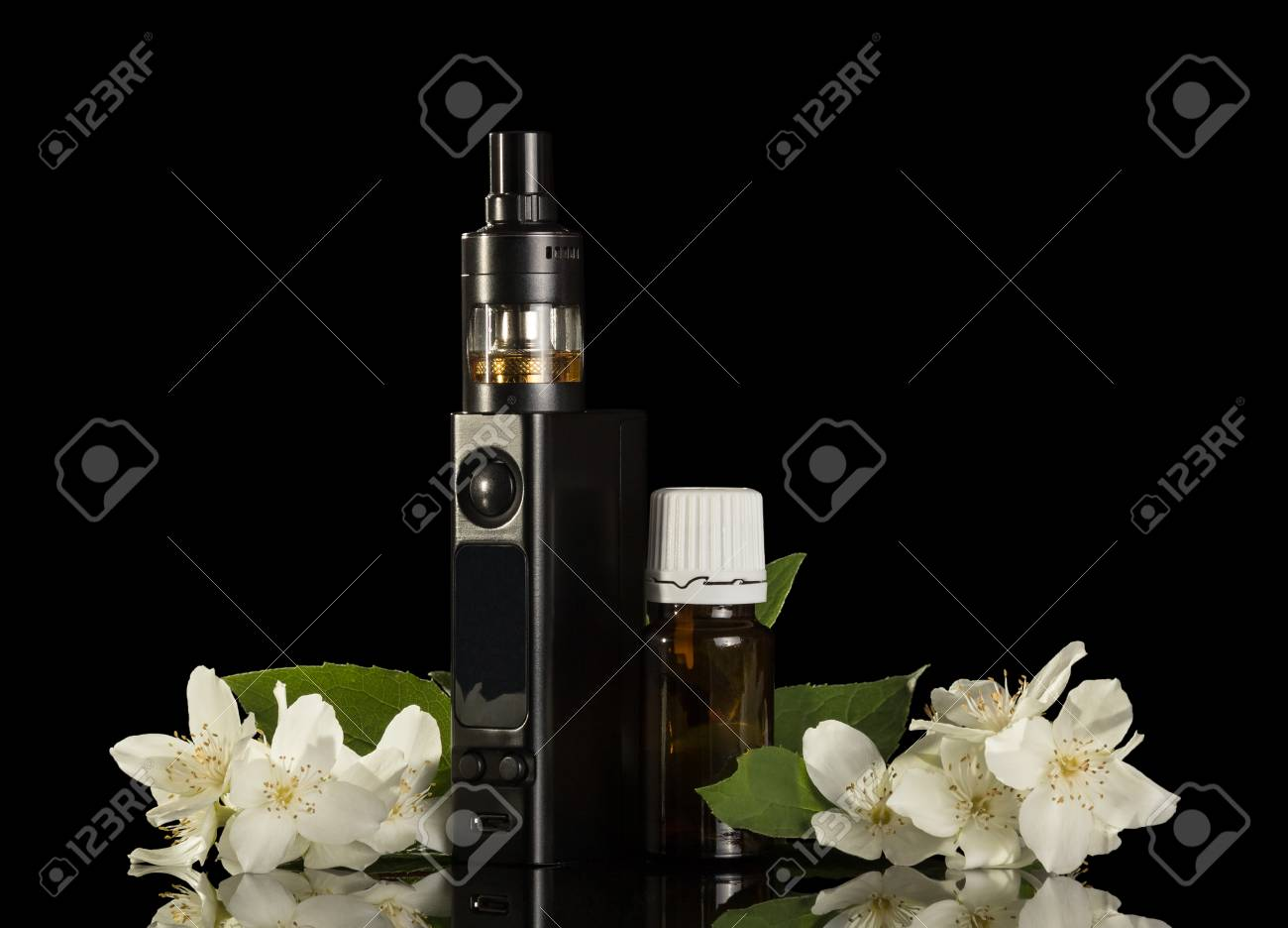 Electronic cigarette and liquid with floral scent isolated on