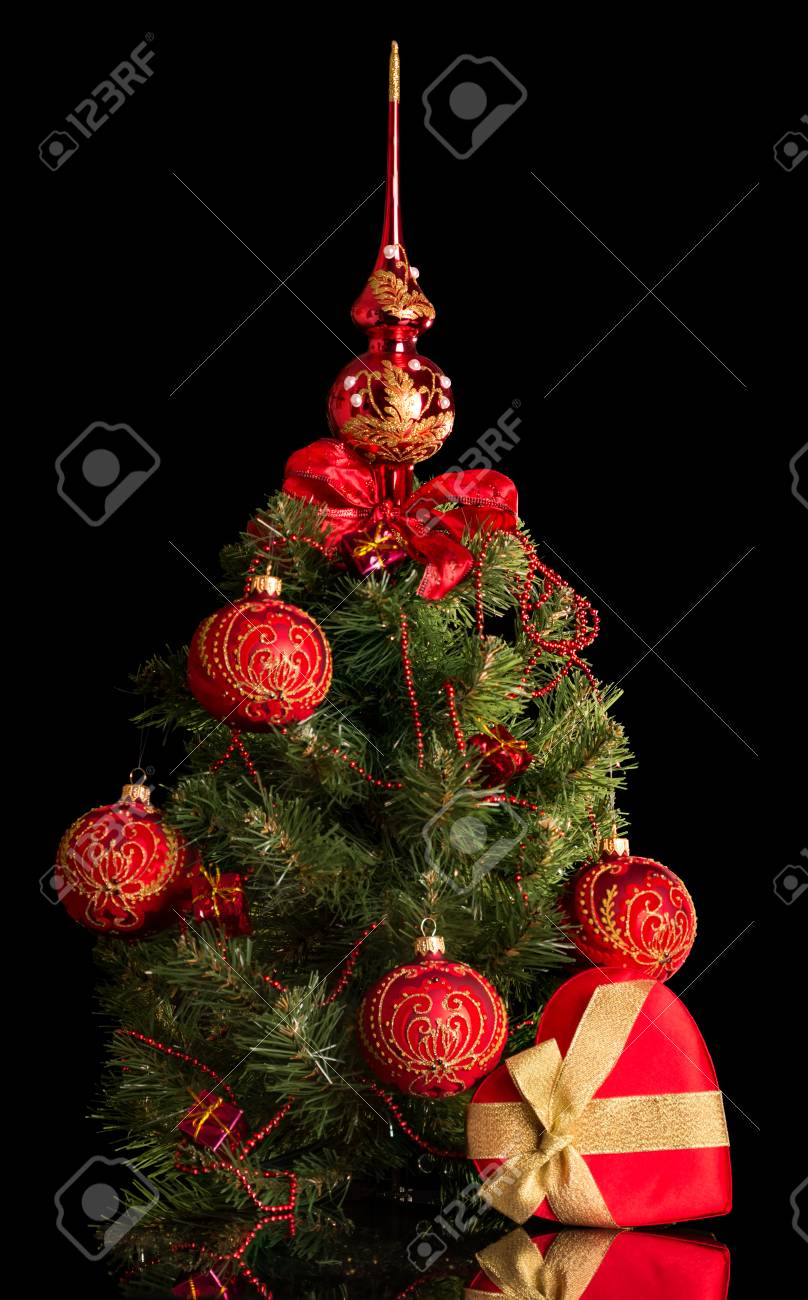 Small Elegant Christmas Tree Decorated With Baubles And Beads Stock Photo Picture And Royalty Free Image Image 89921640