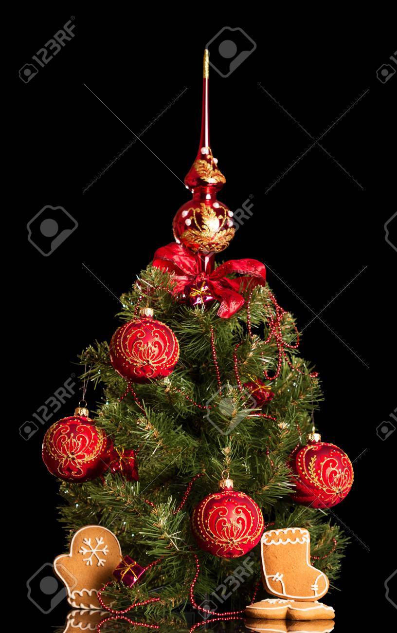 Small Elegant Christmas Tree Next To The Gingerbread Isolated Stock Photo Picture And Royalty Free Image Image 92270328