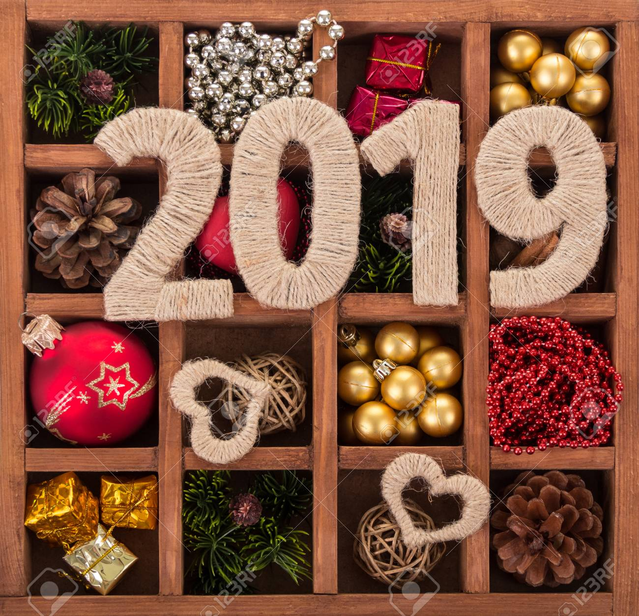 Many Christmas Decorations, Small Gifts And Numbers 2019, In.. Stock ...